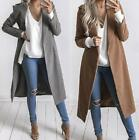 ILC Women Warm Wool Lapel Long Jacket Trench Coat Parka Overcoat Winter Outwear