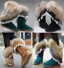 Winter Warm Women Leather Snow Boots Real Rabbit Fox Fur Mid Calf Boots Plus Sz#