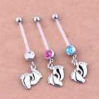 Flexible Pregnancy Maternity Baby Feet Boy & Girl Belly Bar Navel Ring Piercing