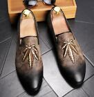 Mens Embroidery Increase Leather Slip On Formal Dress Shoes Wedge Mix Colors 43