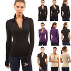 Womens Ladies Short Long Sleeve V Neck Polo Shirt Casual T Shirts Slim Fit Tops