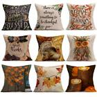 Happy Fall Thanksgiving Day Cotton Linen Pillow Case Cushion Cover Home Decor US
