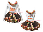 Thankful For Mommy White Top Brown Turkey Satin Trim Skirt Girl Outfit Set NB-8Y