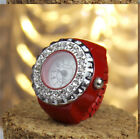 Women Lady Candy Colors Crystal Numeral Handy Stainless Steel Quatz Ring Watch