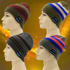 Wireless Bluetooth Beanie Knit Stripes Hat Music Cap with Stereo Headphone Heads