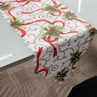 Room Decorative Christmas Santa Claus Tapestry Poinsettia Table Runner