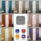 """MATRIX Thermal Woven Block Out Lined Curtains 3"""" Pencil Pleated Headed Tape Top"""