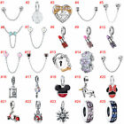 European Silver Beads CZ Safety Chain Charms Pendant Fit Necklace Bracelet Chain