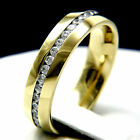 Wedding Band New Mens Stainless Steel CZ Engagement Anniversary Bridal Ring