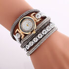 Fashion Women Luxury Crystal Leather Band Bracelet Quartz Analog Wrist Watch 32