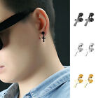 1 Pair Mens Cross Earrings Titanium Steel Screw Fashion Jewellery US
