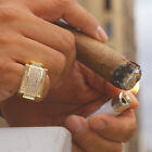 mens cz ring - Mens 14k Gold Plated Iced Out Hip Hop Style Square Ring CZ Crystal Bling Pinky