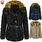 WOMENS LADIES QUILTED WINTER COAT PUFFER FUR COLLAR HOOD JACKET PARKA SIZE NEW