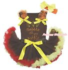 Gobble Till You Wobble Brown Cotton Top Brown Red Yellow Baby Skirt Outfit 3-12M