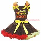 Thankful For Mommy Brown Cotton Top Brown Red Yellow Girl Skirt Set 1-8Y