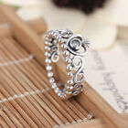 Princess Crown Silver Rhinestone Love Heart Ring Womens Girls Queen Tiara  Pop