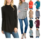 USA Women Long Sleeve Mock Neck Tunic Top Sweater Round Hem Hacci Knit S M L XL
