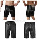 Mens Wetlook Faux Leather Underwear Boxer Briefs Tights Pants Pouch Shorts Black