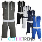 MENS FLEECE SLEEVELESS GILET SWEATSHIRT ZIPPER HOODY TRACKSUIT JOGGING SUITE