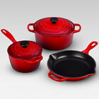 SALE NEW Le Creuset Signature Enameled Cast Iron 5 Pc Cookware Set - 3 Colors