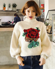 Womens Retro High Neck Floral Sweaters Casual Lantern Sleeves Blouses Pullover