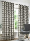 Insignia Luxury Geometric Eyelet Curtains Ready Made Lined Curtain Pairs Beige