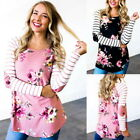 Fashion Women T-Shirt Casual Tops Shirts Floral Striped Printing Long Sleeve New