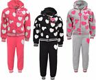 Girls Heart Jogging Suits Tracksuits Hoodie Jacket Joggers Pants Ages 2-12 Year