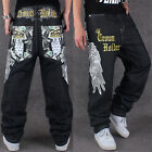 Men 's Personality Embroidery Wings Casual Wear Hip-hop Jeans Size 30-44