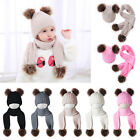 Newborn Baby Boy Girl Winter Warm Double Fur Pom Knitted Beanie Hat & Scarf Set