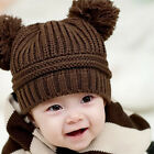 Infant Baby Kids Girls Boys Dual Balls Warm Knitted Cap Beanie Hat Photo Prop