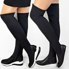 Womens Ladies Low Wedge Sports Thigh High Lycra Stretchy Trainers Sneakers Boots