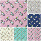 Unicorn print polycotton fabric, pink or grey 112cm wide per half metre