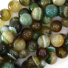 "Brown Green Stripe Agate Round Beads Gemstone 15"" Strand 4mm 6mm 8mm 10mm 12mm"