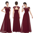 Ever-Pretty 2018 New Long Bridesmaid Lace Dress Burgundy Evening Formal Dresses
