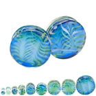 Pair Of Blue & Green Pyrex Glass Feather Ear Plugs Double Flared Choose Color
