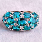 Fashion Women Oval Green Topaz Gemstones Silver Ring Jewelry Nice Gifts Size6-13