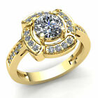 3ct Round Cut Diamond Ladies Twisted Halo Solitaire Engagement Ring 14K Gold