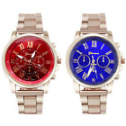 Unisex Men Women Roman Number Stainless Steel Quartz Sports Dial Wrist Watch NEW