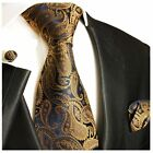 Bronze Paisley Silk Tie, Pocket Square and Cufflinks by Paul Malone