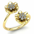 Natural 1ct Round Cut Diamond Ladies Fancy Flower Engagement Ring 10K Gold