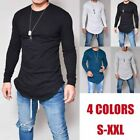 Mens Long Full Sleeve T shirts Tee Tops O-Neck Silm Fit Solid Color Cotton