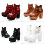 Fashion Womens High Heels Buckle Martin Boots Platform Cuban Fashion Ankle Boots