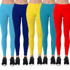 Womens Nylon Solid Basic Leggings Stretch Pants Long Full Length Opaque Ankle