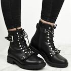 Womens Ladies Chunky Studded Biker Ankle Boots Winter Lace Up Punk Shoes Size