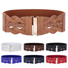 Ladies Wide Braided PU Leather Floral Hook Stretch Elastic Waist Belt Waistband