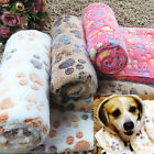 Multi-use Pet Dog Cat Soft Fleece Blanket Warm Paw Print Bed Mat Pet Supplies