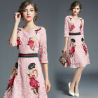 women's Elegant lace embroidery Embroidered Floral Casual Cocktail party dress