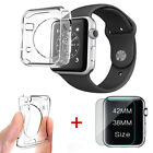 For Apple Watch Series 3/2 Tempered Glass Screen Protector Soft TPU Case 38/42mm