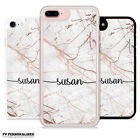 PERSONALISED ROSE GOLD MARBLE ENDLESS CUSTOM NAME INITIALS HARD CASE FOR IPHONE